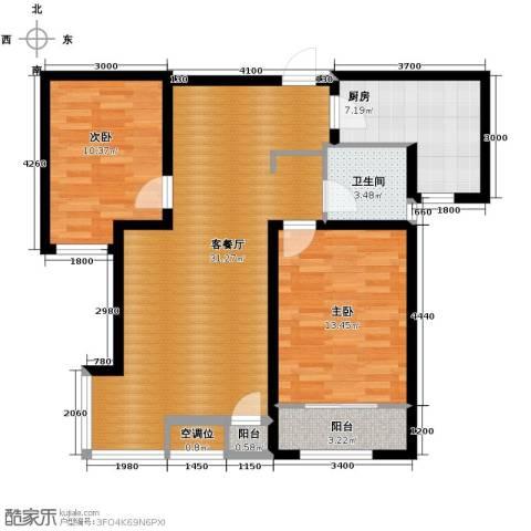 溪谷港湾2室1厅1卫1厨98.00㎡户型图