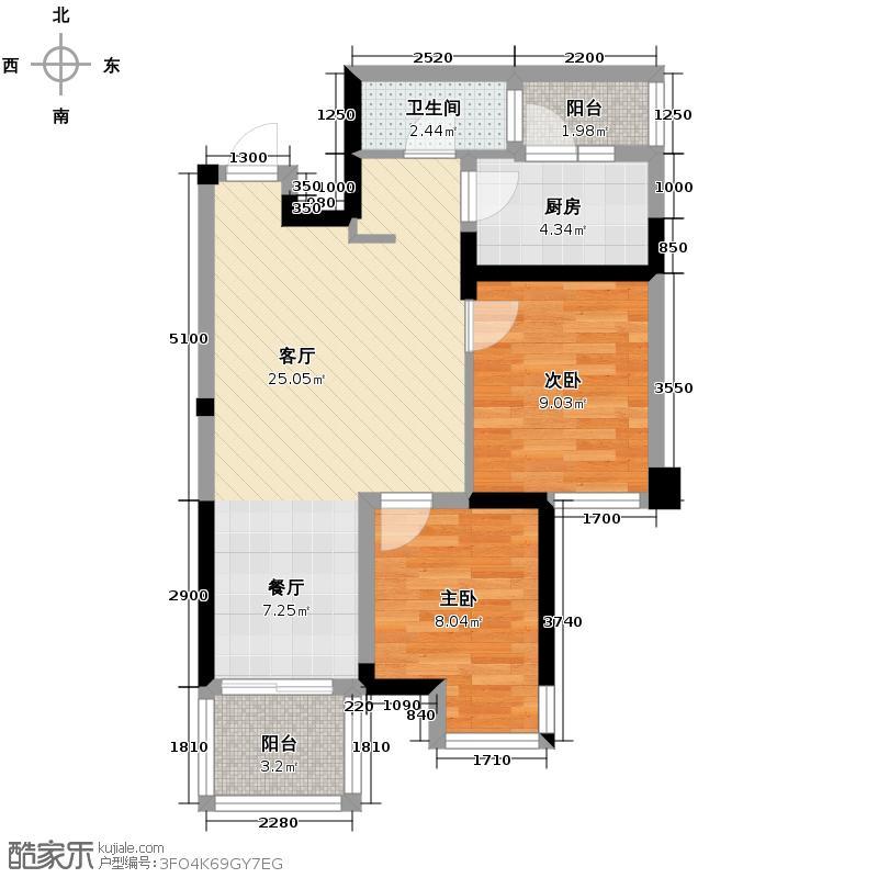 绿地国际花都63.25㎡公寓户型10室