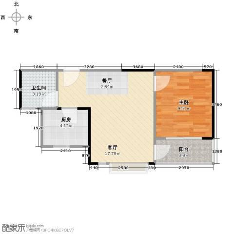 中惠香樟半岛1室2厅1卫0厨51.00㎡户型图