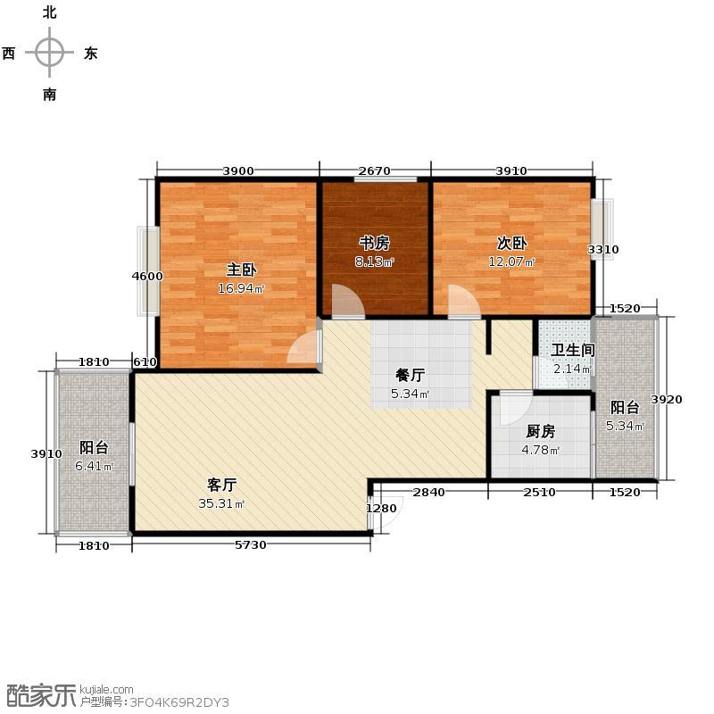 东方威尼斯100.66㎡B1-2户型3室2厅1卫