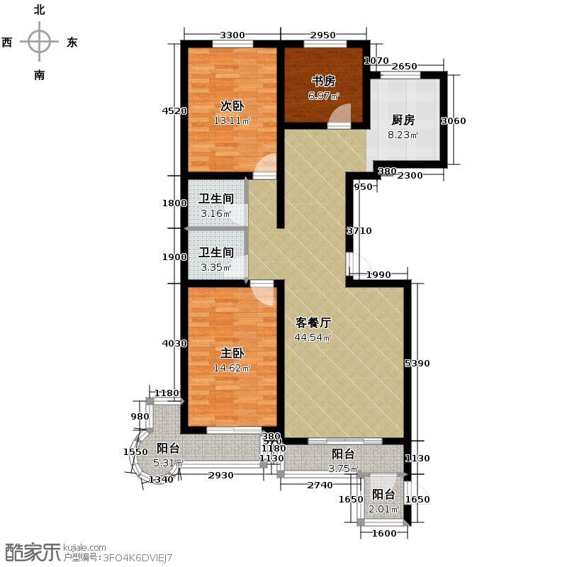 龙江华苑132.00㎡户型3室2厅2卫