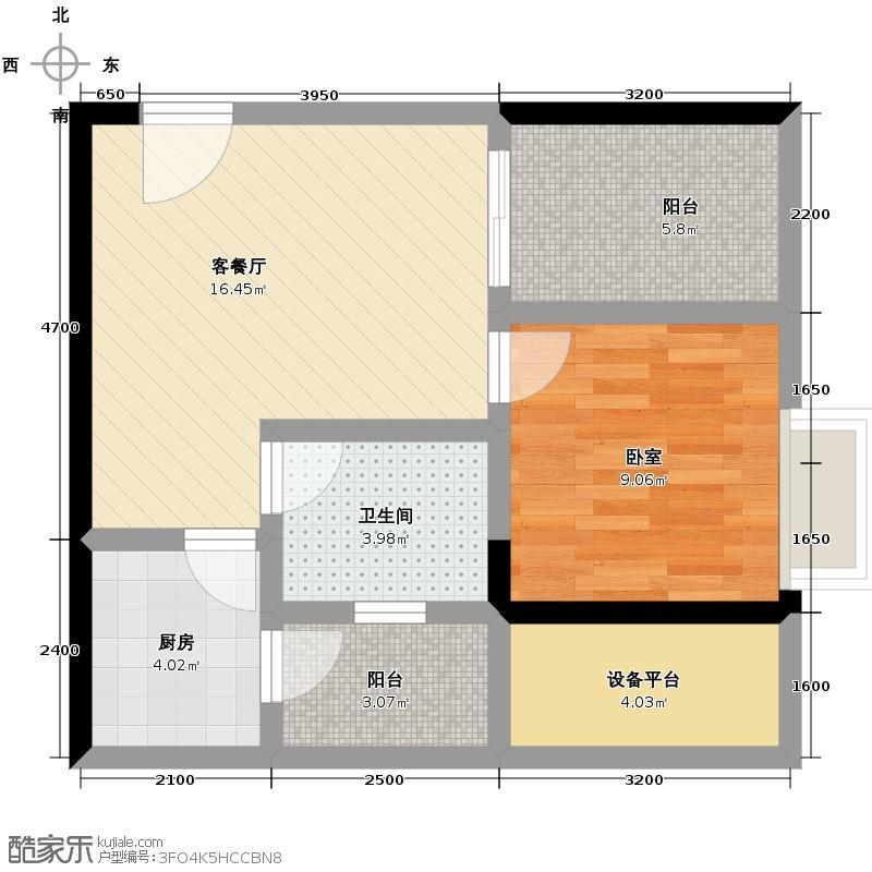 芸峰天梭派42.21㎡7号楼B5栋标准层1号6号房户型1厅1卫1厨