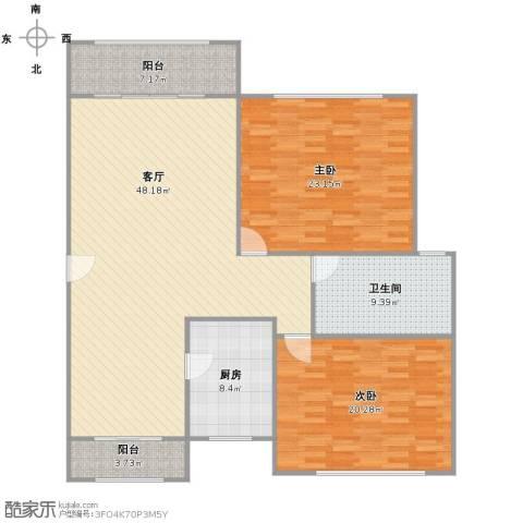 新时代景庭2室1厅1卫1厨159.00㎡户型图