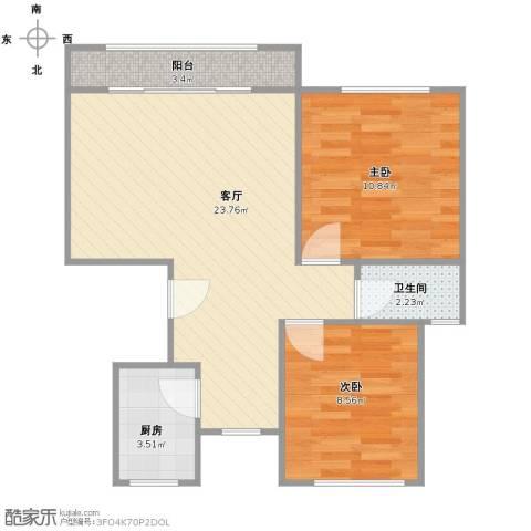 富浩河滨花园2室1厅1卫1厨71.00㎡户型图