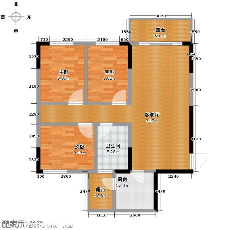 泉天下国际公馆93.54㎡户型10室