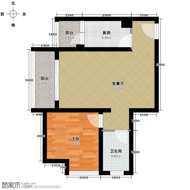 芸峰天梭派49.47㎡A1A2标准层6号房户型1室1厅1卫1厨