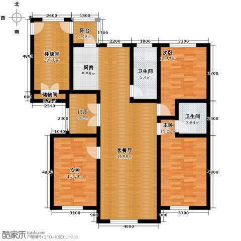 香江铂朗明珠3室2厅2卫0厨124.00㎡户型图