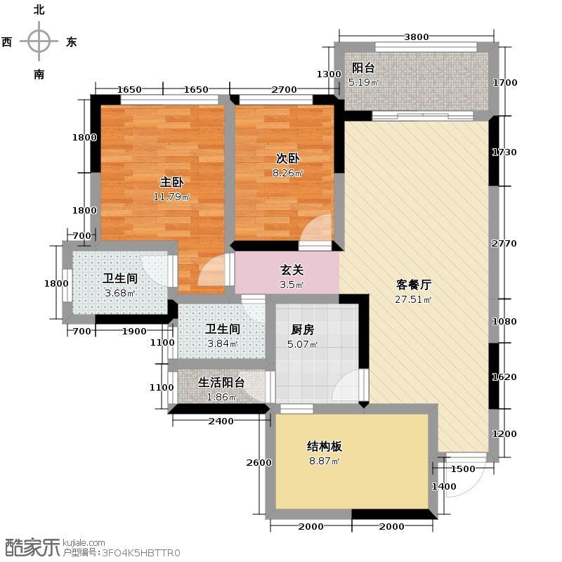 龙德悠彩郡88.66㎡C户型2室1厅2卫1厨