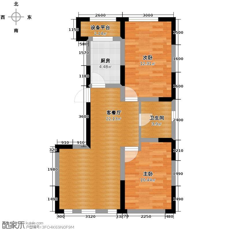 智造创想城82.51㎡7/11/15号楼E3户型2室2厅1卫