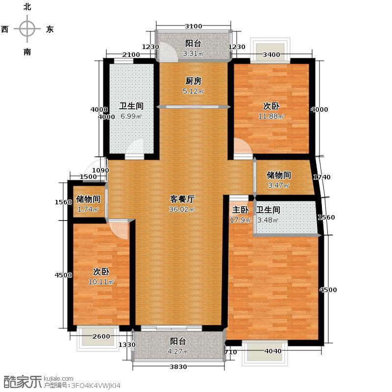 千岛碧水花园123.00㎡户型3室1厅2卫1厨
