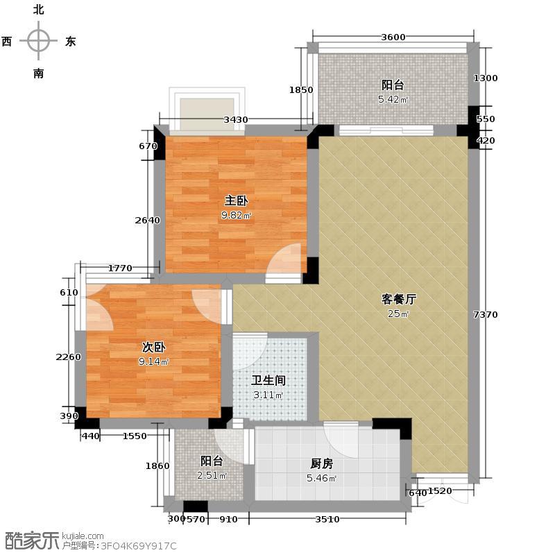 泽瑞琥珀居64.62㎡图为B1户型2室1厅1卫1厨