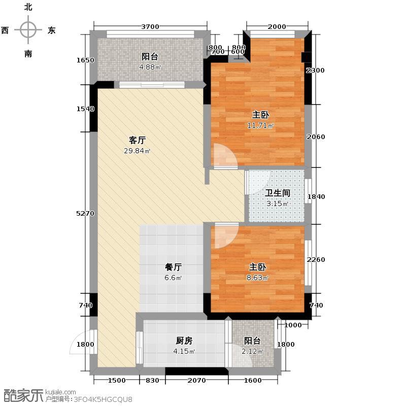 金科廊桥水乡67.58㎡B高层户型2室1厅1卫