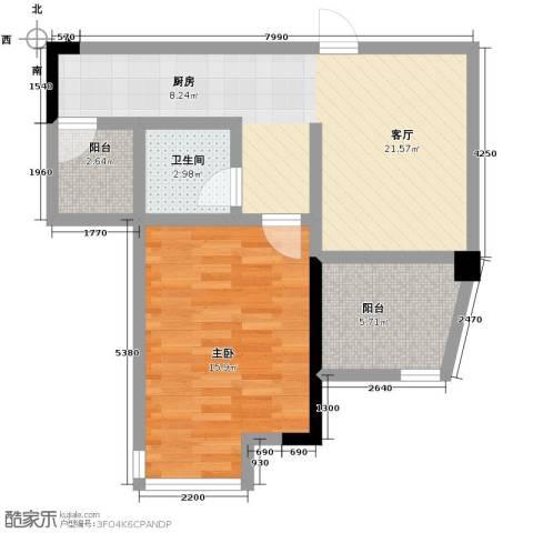 海逸卡拉公寓1室1厅1卫0厨53.00㎡户型图