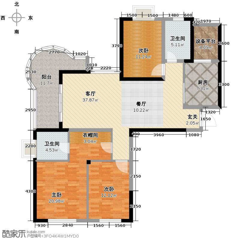 金域三江130.23㎡G奇数层户型3室1厅2卫1厨