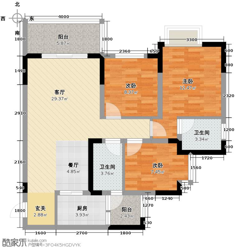 芸峰天梭派89.39㎡2期5/6号楼3号房双阳台户型3室1厅2卫1厨