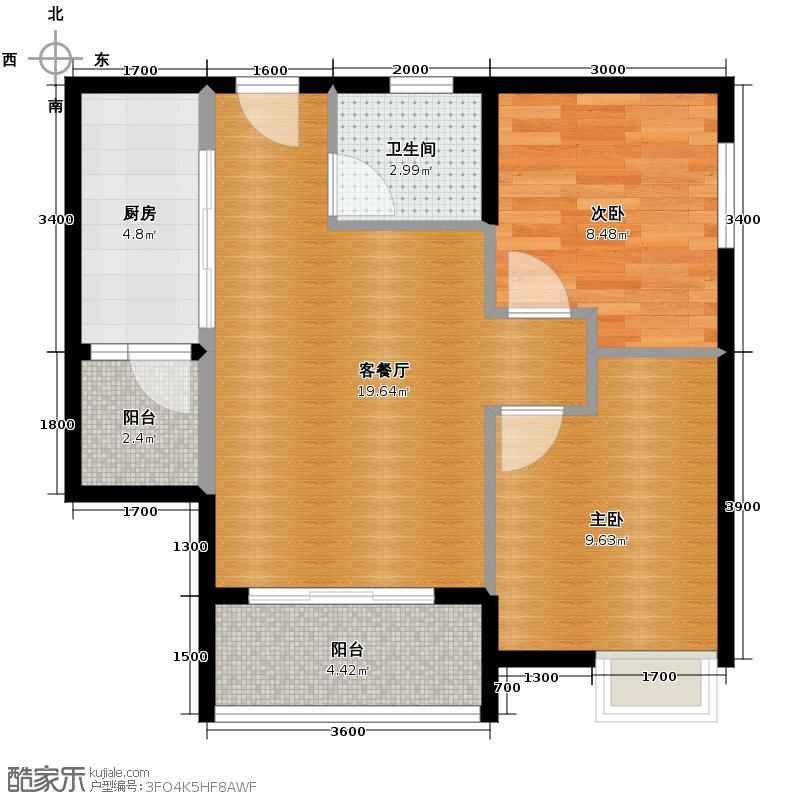 珠江太阳城捌零公馆55.59㎡一期C4栋3号房标准层户型2室2厅1卫