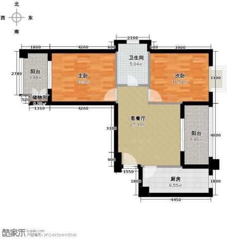 �口金利屋2室1厅1卫1厨87.00㎡户型图