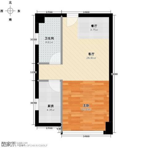 禧福汇1厅1卫1厨55.00㎡户型图