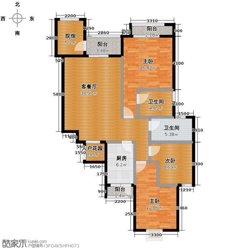 旭阳台北城114.00㎡洋房B2-3含可变院馆双阳台户型3室2厅2卫