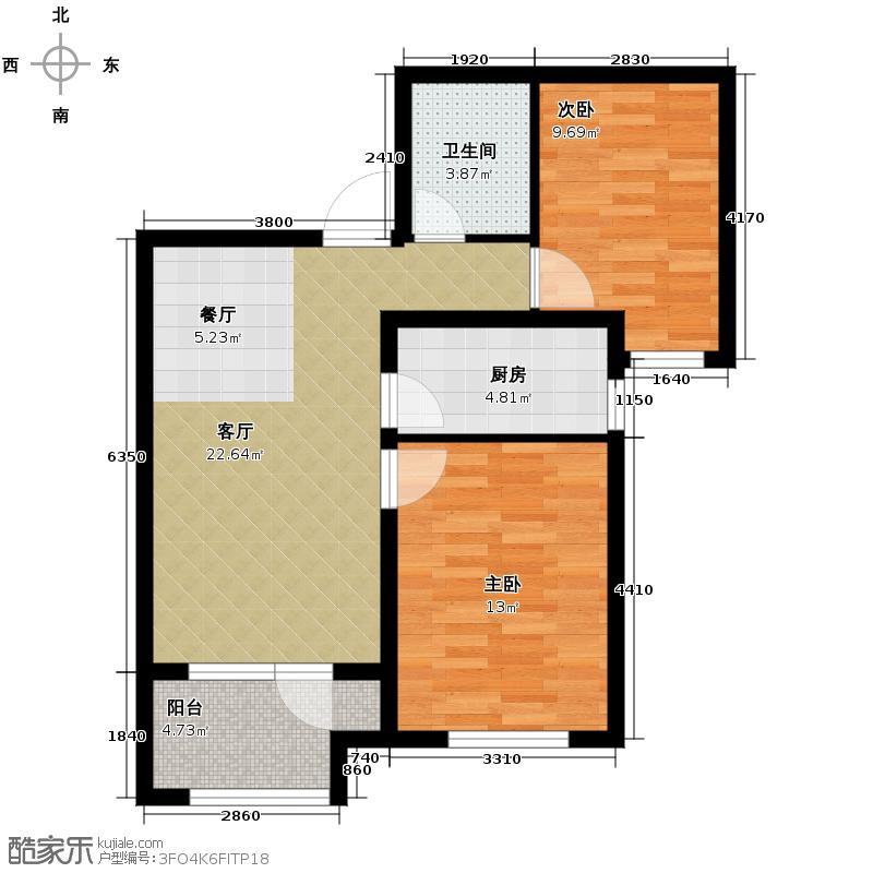 永定河孔雀城英国宫67.41㎡S3户型2室2厅1卫