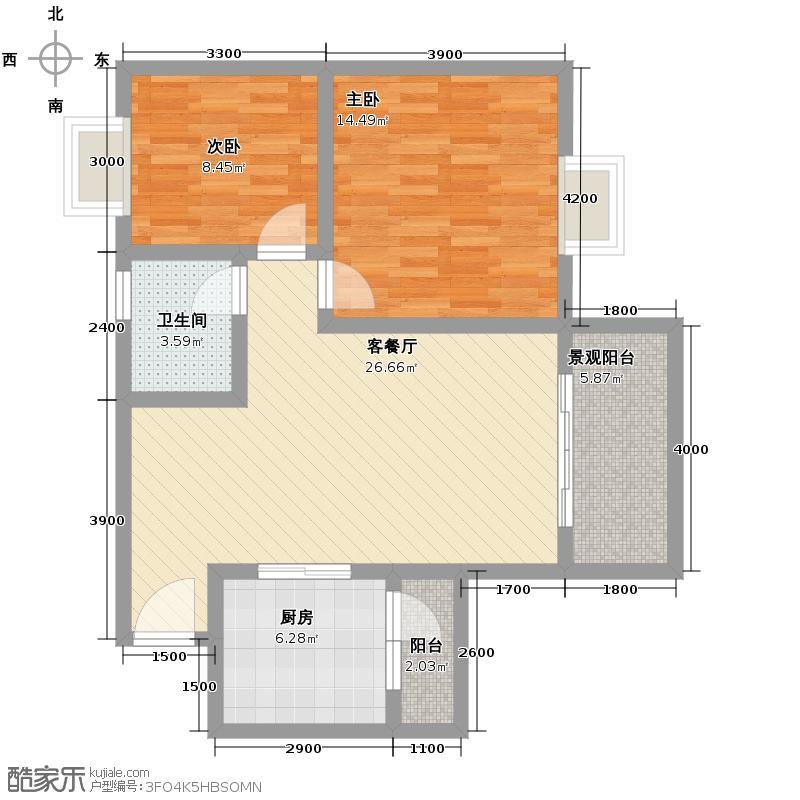 杜鹃城82.33㎡二期E2标准层户型10室