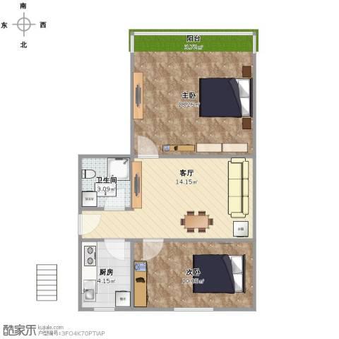景芳新五区2室1厅1卫1厨67.00㎡户型图