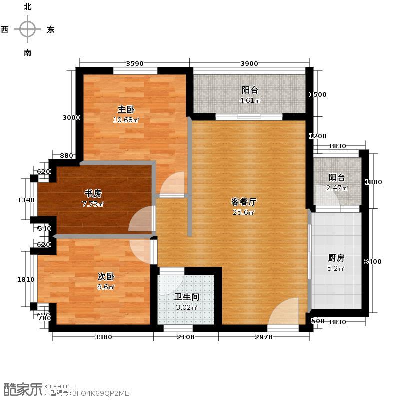 珠江太阳城捌零公馆72.53㎡一期C4栋7号房标准层户型3室2厅1卫