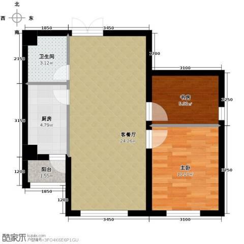 龙泽国际2室1厅1卫1厨65.00㎡户型图