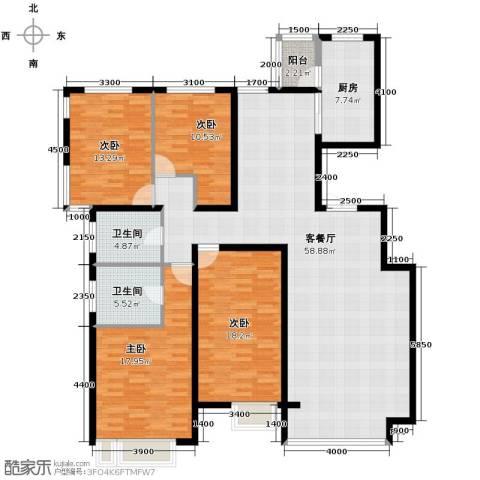 亿利傲东国际4室2厅2卫0厨181.00㎡户型图