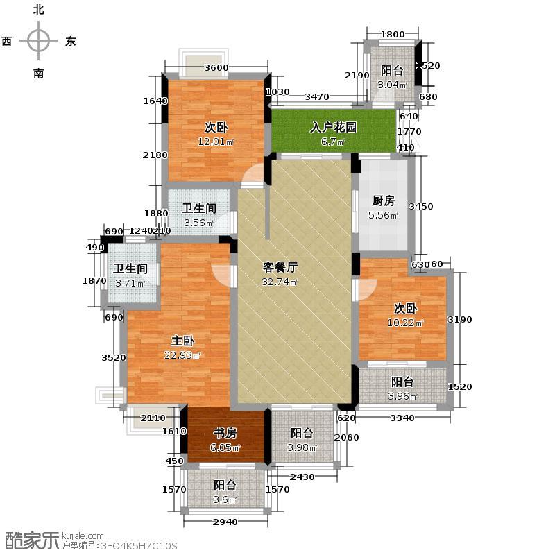 斌鑫中央国际公园121.10㎡一期2-7号楼标准层5户型3室2厅2卫