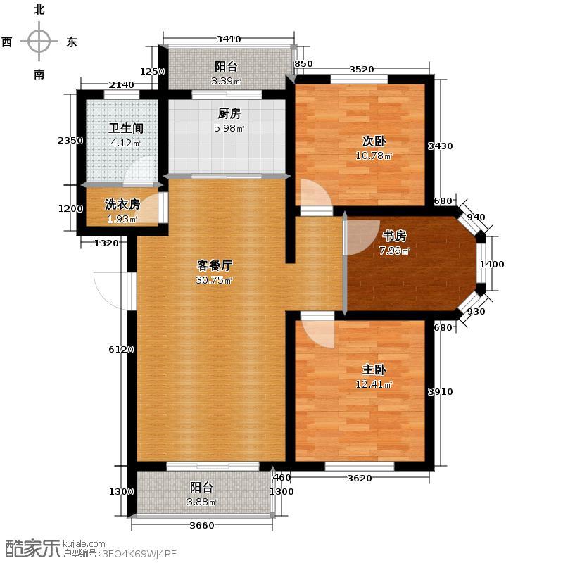 翰林雅苑105.45㎡A3'户型3室2厅1卫
