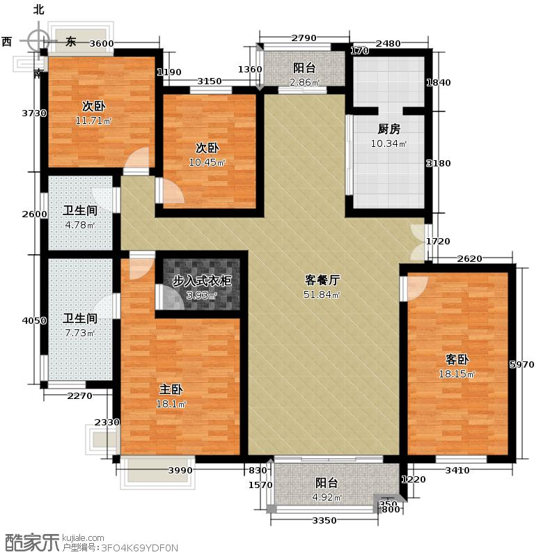 海河大道宽景公寓166.06㎡7号楼2门01户型10室