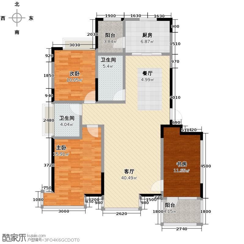 保利百合香湾133.00㎡一期H户型3室2厅2卫