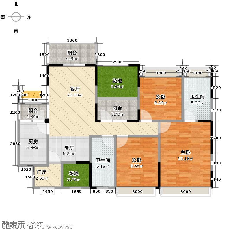 金湖天地125.06㎡1号楼1-2-2户型3室2厅2卫