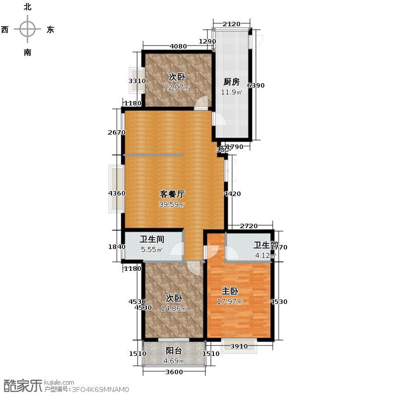 东景苑165.04㎡1、2、3、4号楼E户型3室2厅2卫