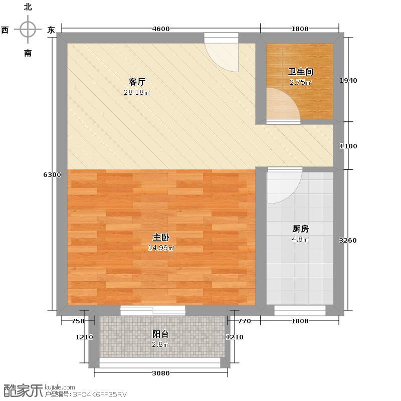 上上城青年社区二期54.09㎡二期第一组团33#J改-2一居室户型1厅1卫1厨
