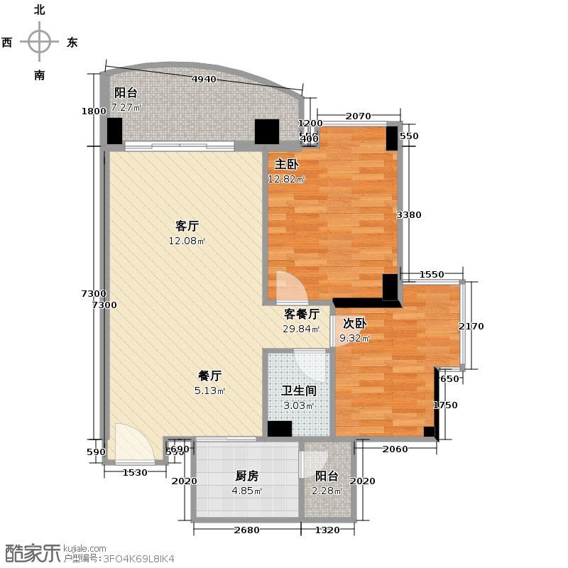中茵丽景豪庭77.84㎡户型2室1厅1卫1厨