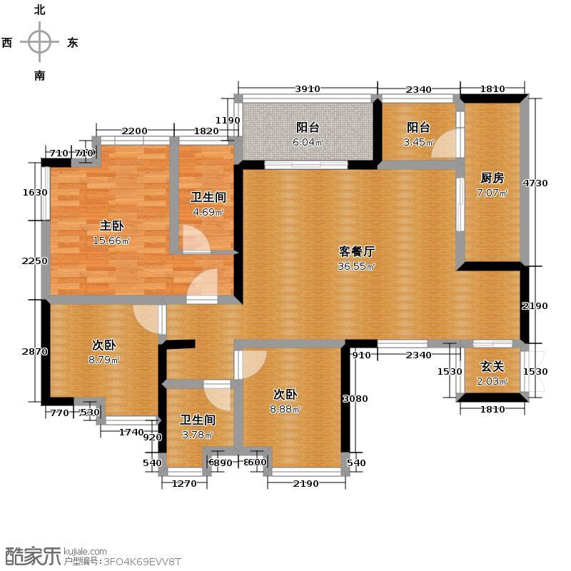 协信阿卡迪亚100.04㎡A1-4带入户花园套内10004户型3室1厅2卫1厨