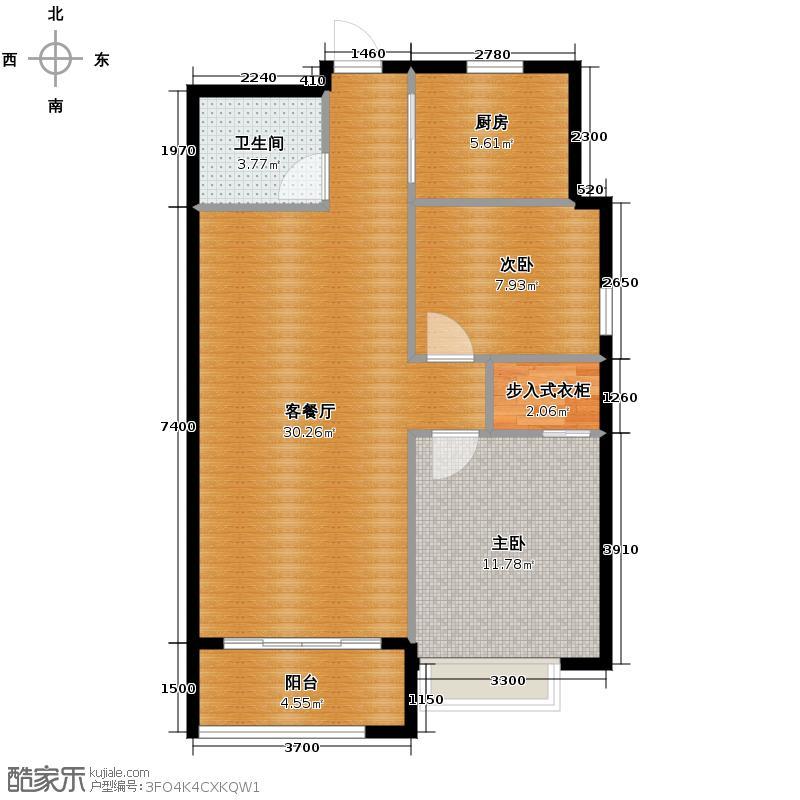 兴耀星悦湾88.00㎡B-4户型2室1厅1卫1厨