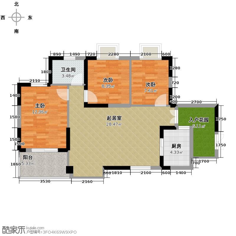 兆麟锦桦豪庭100.00㎡G户型2室2厅1卫