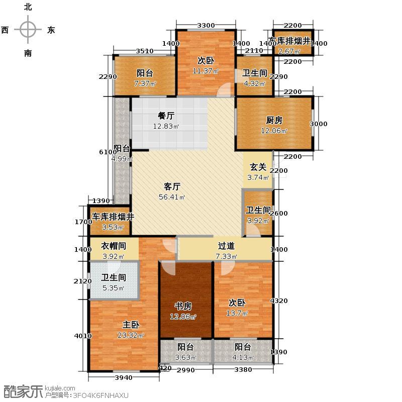 莱德绅华府208.00㎡公爵官邸系列A户型4室2厅3卫