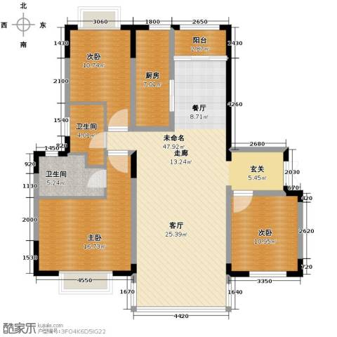 天安第一城3室2厅2卫0厨119.62㎡户型图