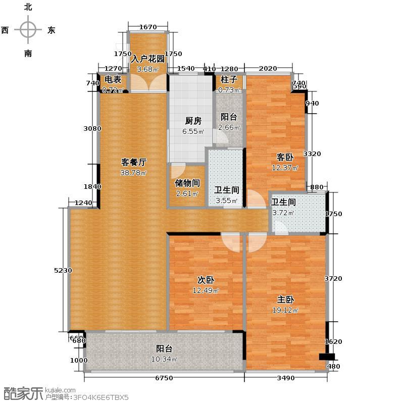 路劲隽悦豪庭146.00㎡E区24、27栋01单位户型3室2厅2卫
