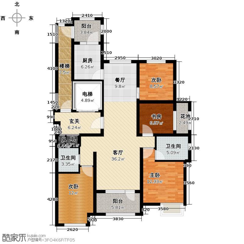 永定河孔雀城英国宫143.19㎡V1户型3室2厅2卫