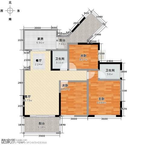 斌鑫中央国际公园3室2厅2卫0厨87.00㎡户型图