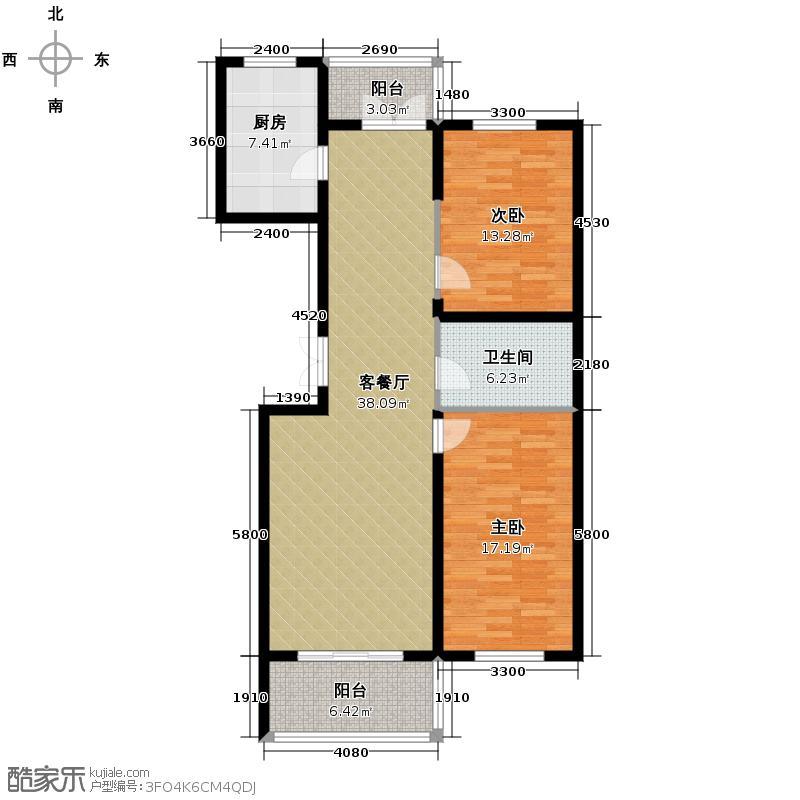 好民居滨江新城80.79㎡二期A8座户型2室2厅1卫