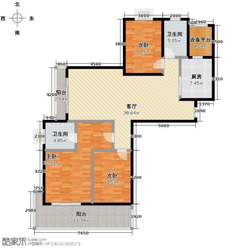 金域三江135.24㎡G偶数层户型3室1厅2卫1厨