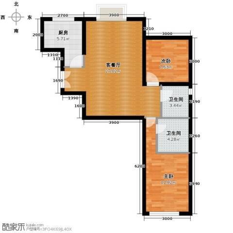 红星美凯城2室2厅2卫0厨68.41㎡户型图
