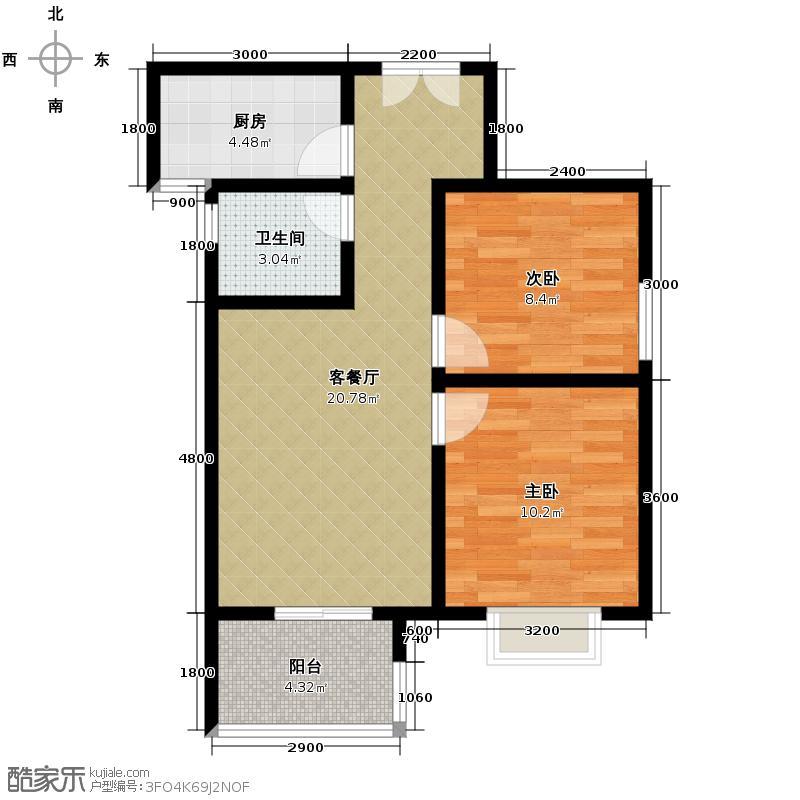 听城74.10㎡H户型2室1厅1卫1厨