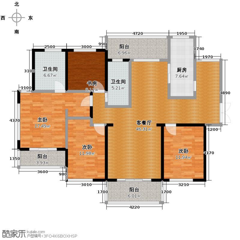 长江峰景185.00㎡03栋A户型10室